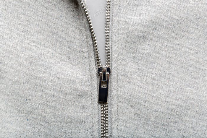 Zip on woolen fabric