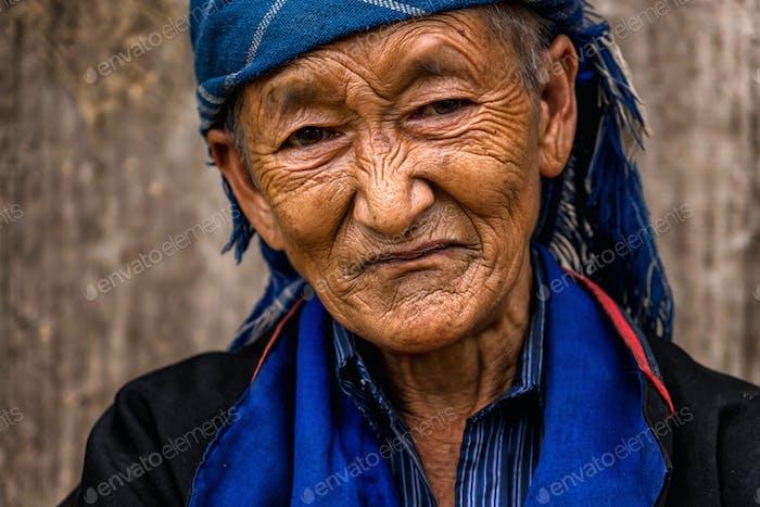 Vietnamese Hmong Old Woman at mu cang chai district,Yenbai province