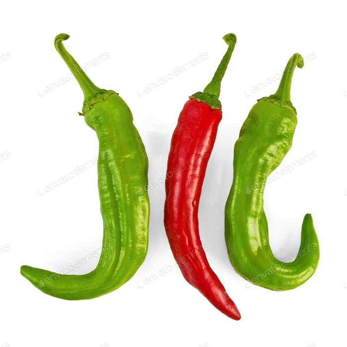 Three hot peppers