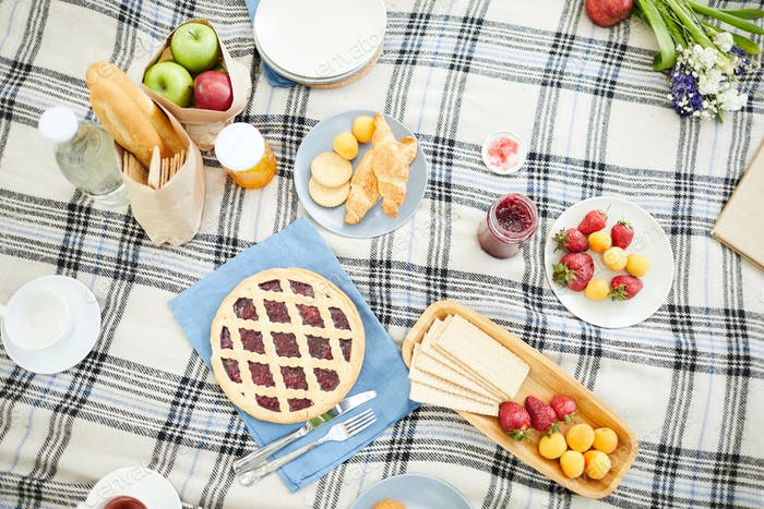 Snack on tablecloth