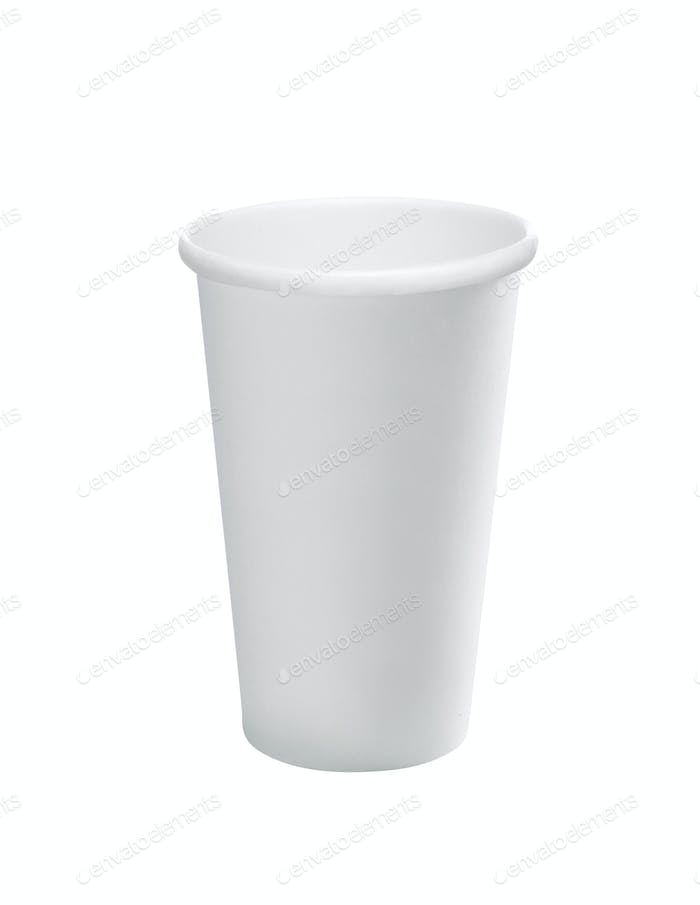 Empty white paper cup isolated