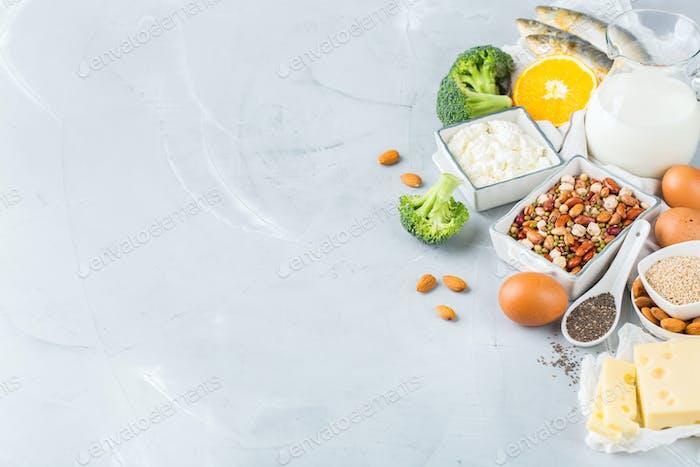 Assortment of healthy calcium source food