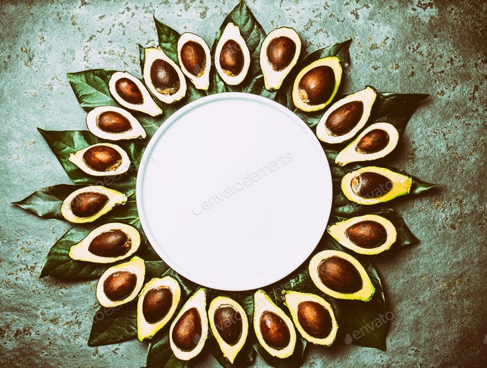 Avocado Frame Made From Avocado and Avocado Tree Leaves Around white Plate