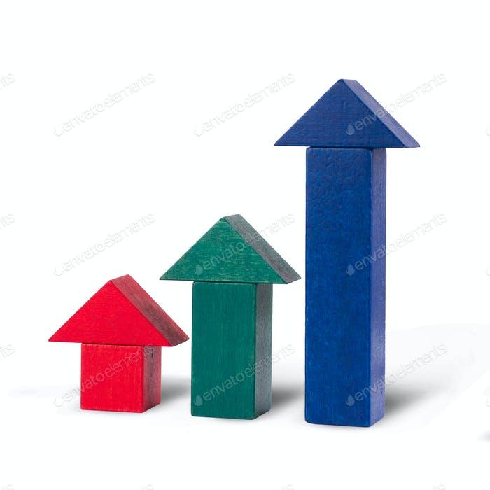 red green and blue arrows of wooden toy building blocks