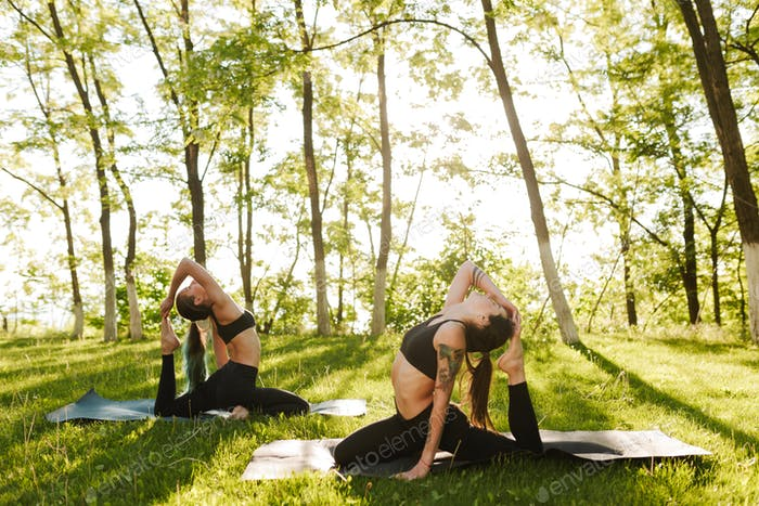 Pretty ladies in black sporty tops and leggings training yoga poses together outdoors