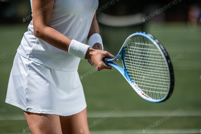 Tennis player with a racket
