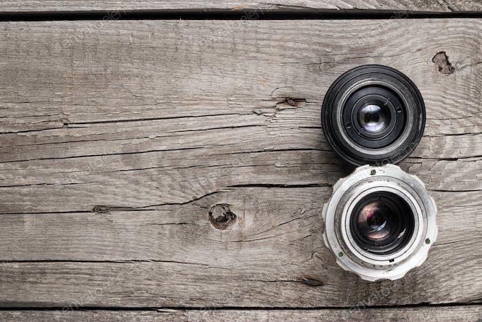 Retro Camera Lenses On The Table