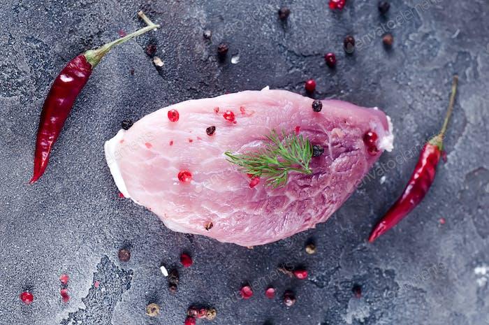 Raw Organic Boneless Pork Chops Ready to Cook