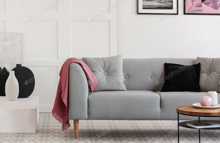 Comfortable grey sofa with pillows in elegant living room with scandinavian design