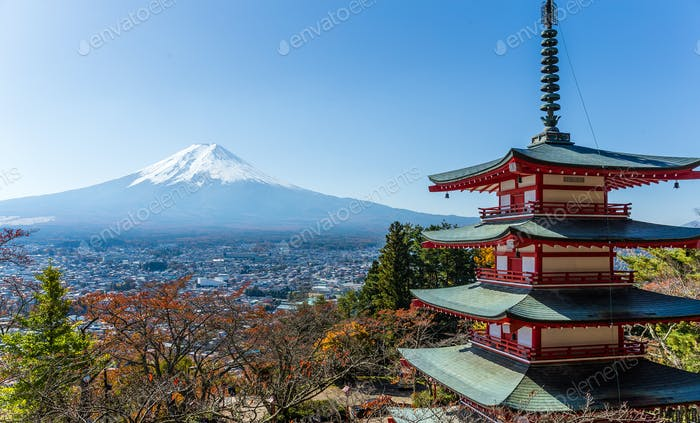 Mt. Fuji with Chureito Pagoda in autumn