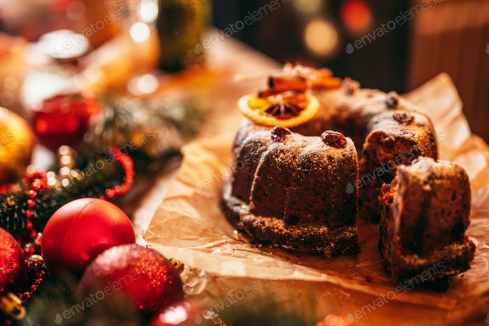 Christmas cake with holiday decoration closeup