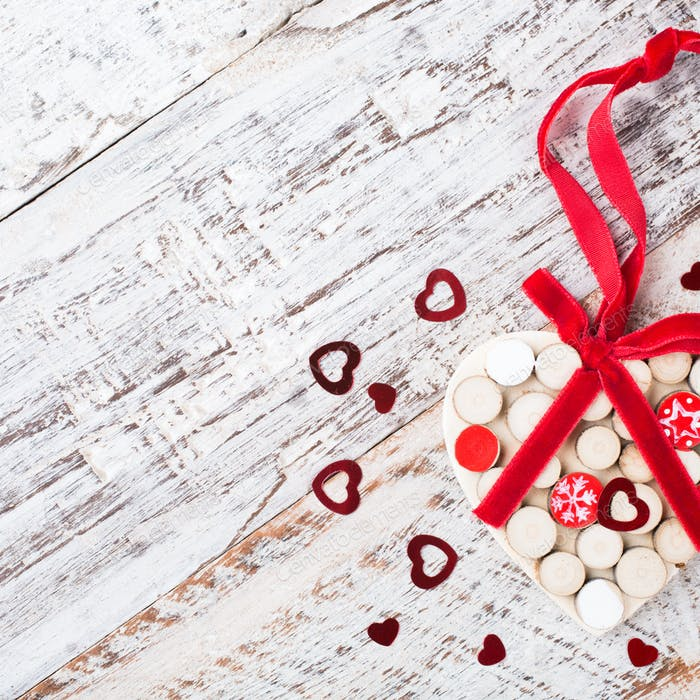 Valentines day background with wooden heart