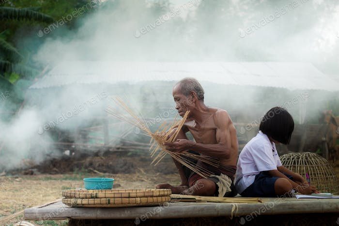 Older people and children with basketry