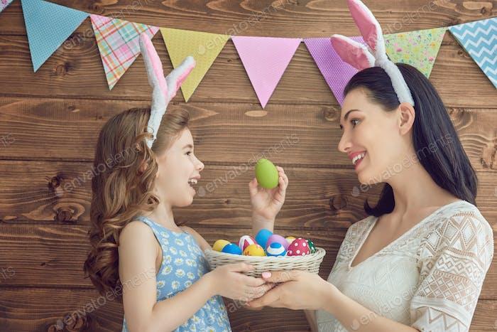 family celebrate Easter