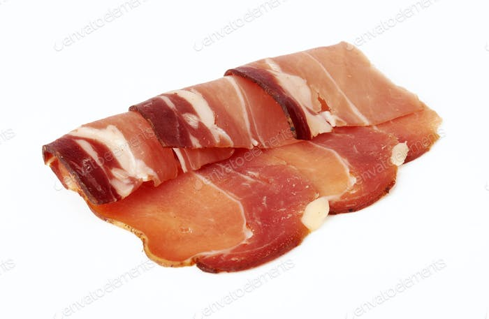 pieces of raw bacon