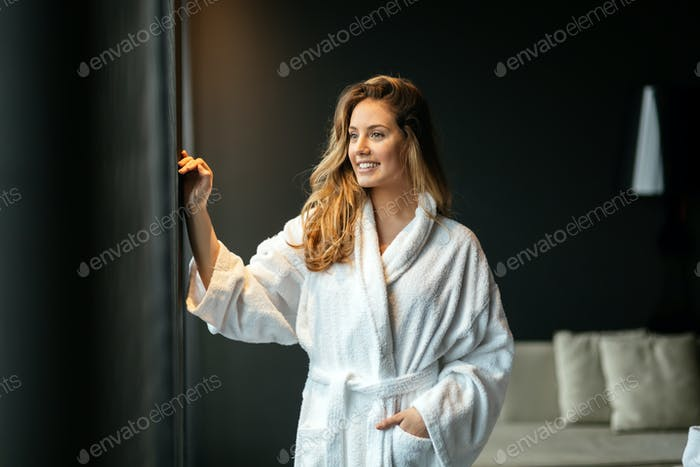 Beautiful glamorous woman in bathrobe