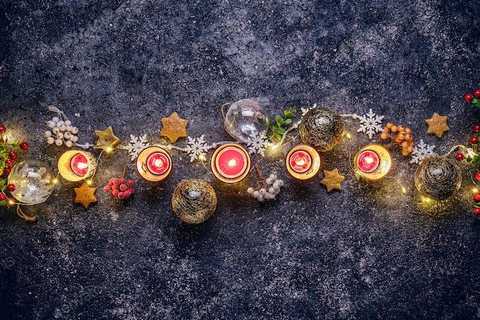 Flache Liege von Weihnachten Hintergrund