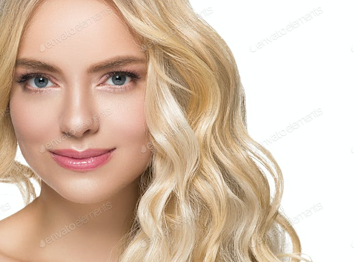 Beautiful blonde with long beautiful eyelashes and blonde hair beautyful healthy skin and pink lips