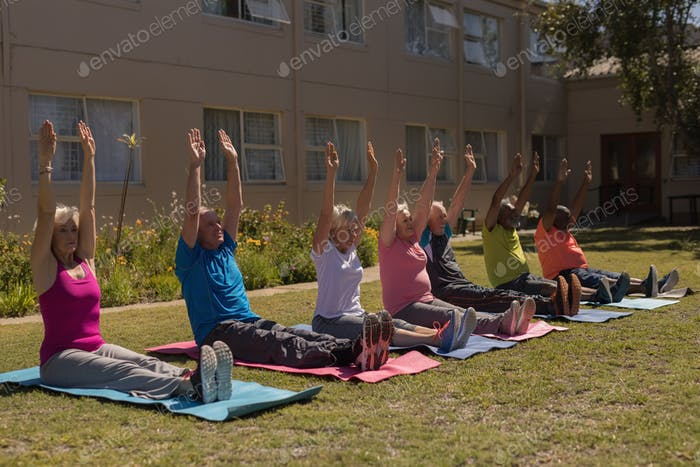 Side view of group of active senior people exercising gym aligned on yoga mat  in the park