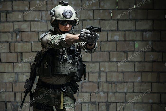 US Army Ranger aiming pistol