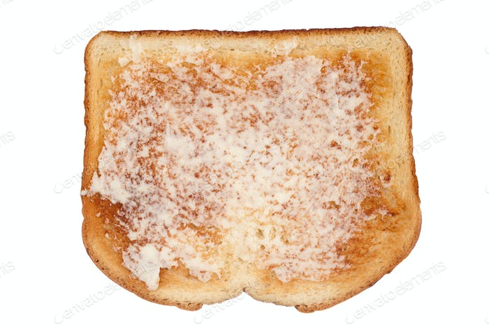 Toast with butter on white