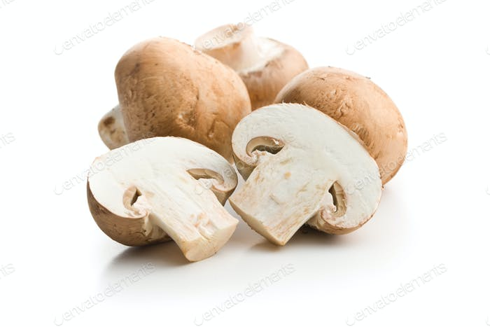 Fresh champignon mushrooms.