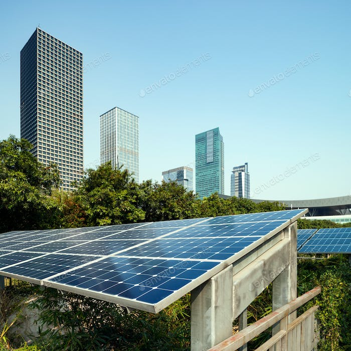 Solar panels and city