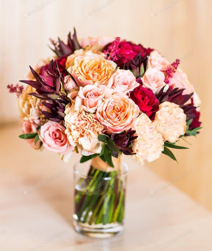 close up of bridal wedding bouquet