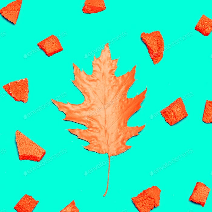 Art gallery. Autumn Colored Leaf and Decor Minimal