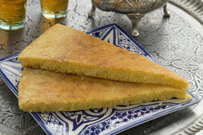 Traditional Moroccan harcha and tea
