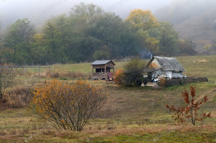 View of old abandoned village in foggy forest