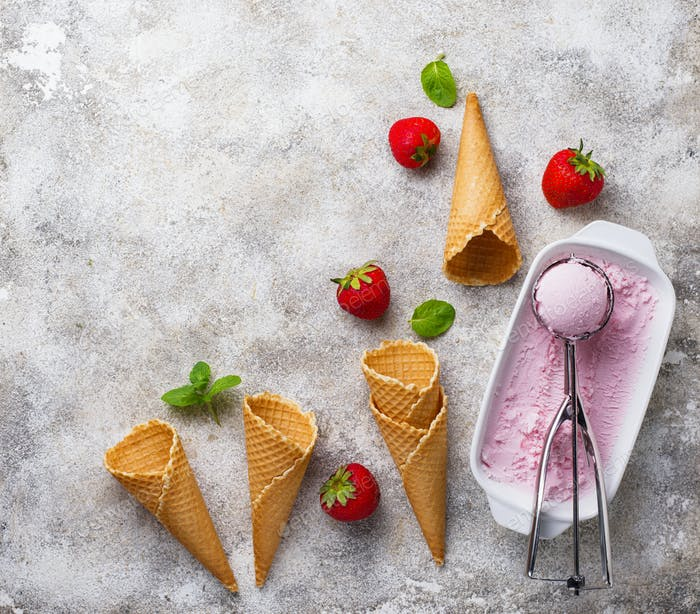Homemade sweet strawberry ice cream