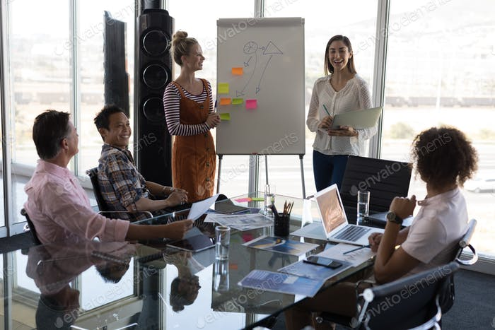 Female executives explaining business strategy with flip chart board in modern office