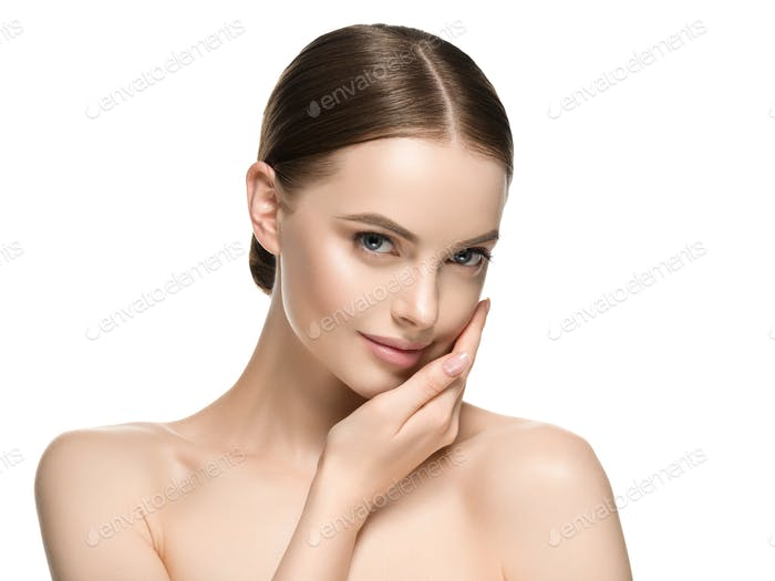 Woman beauty hand touching face clean natural healthy skin
