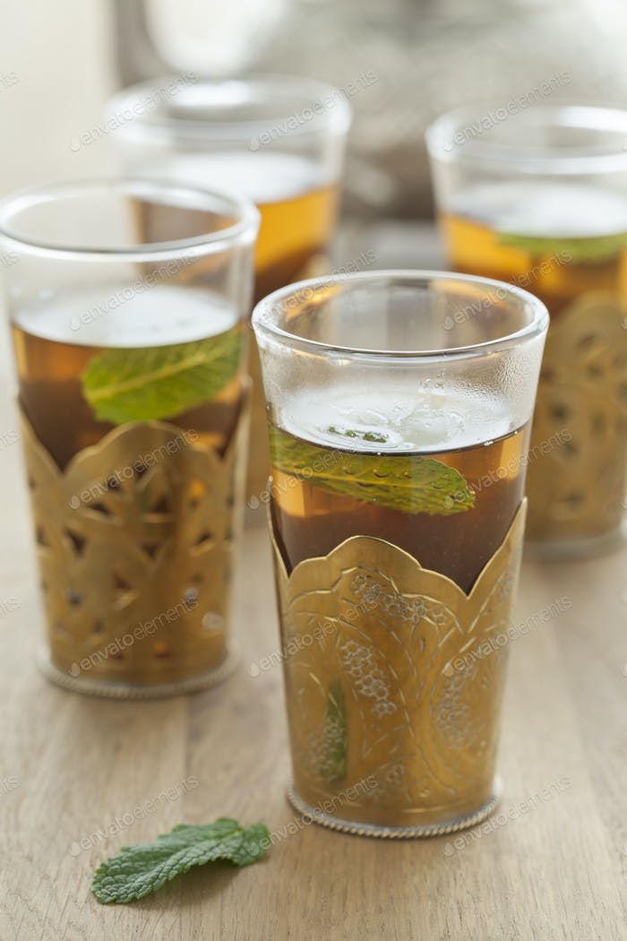 Glasses with moroccan mint tea