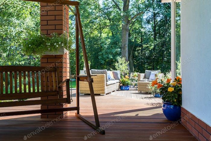 Garden swing and a cozy terrace