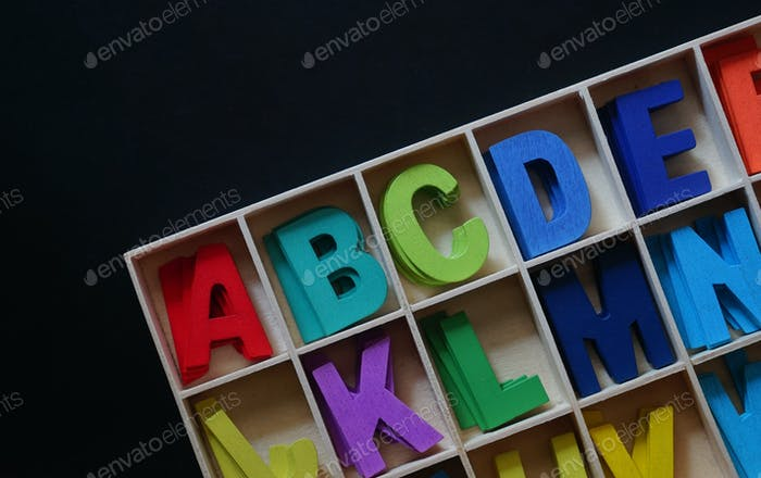 Colorful the wooden english alphabet toy