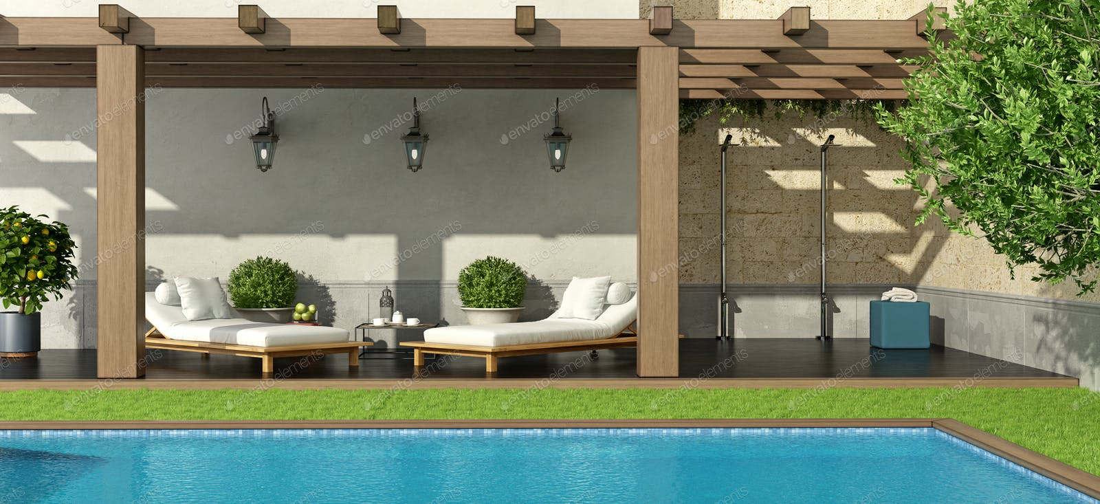 Garden With Swimming Pool garden with pergola and swimming pool photo by archideaphoto on envato  elements