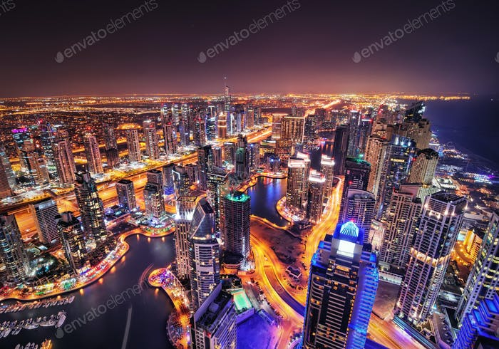 Dubai marina skyline during night. Dubai marina, United Arab Emirates.