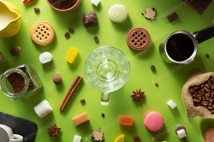 cup  and ingredients at colorful  background