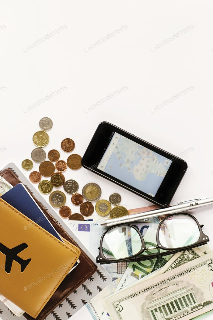 passport money phone with  map and glasses