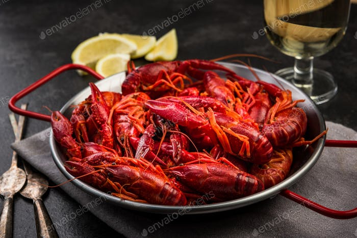 Boiled Red Crayfish, Diet Lunch Served in Saucepan