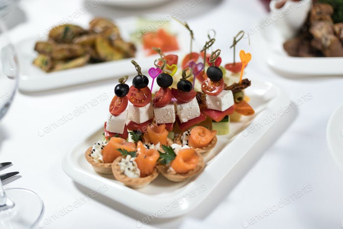 Canapes of fish, vegetables, meat on a plate on a white background