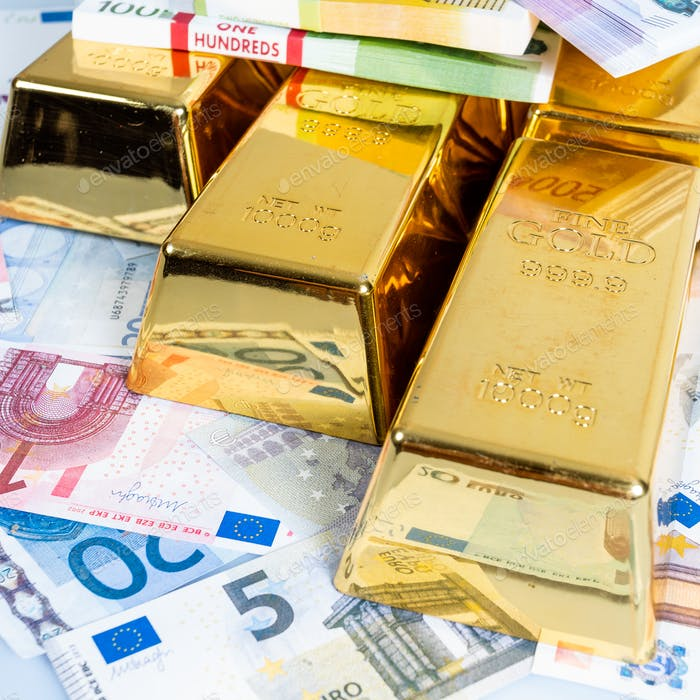 Gold Bullion with euro banknote background