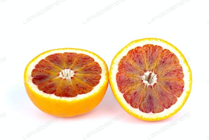 Blood (red-pulp Malta) orange sliced on halves