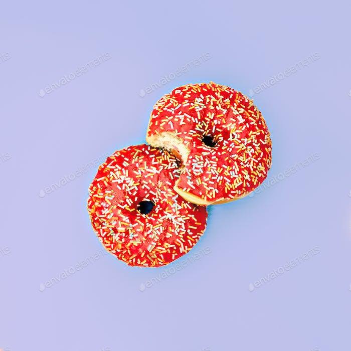 Donuts. Surreal minimal creative art
