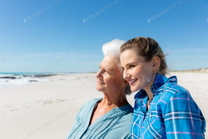 Grandmother and mother at the beach