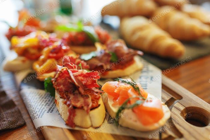 Classic Spanish tapas cooked for the visitors of the event on a