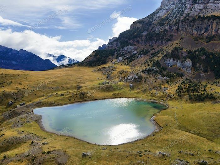 Piedrafita lake in Valley of Tena in Pyrenees, Spain.