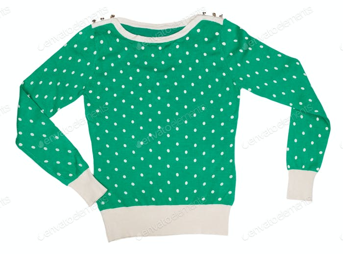 Knitted sweater pattern with polka dots